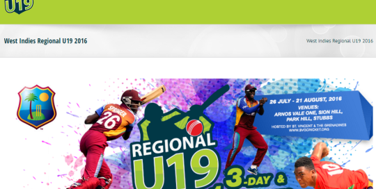 West Indies Regional U19 home page image for Jennos Group portfolio