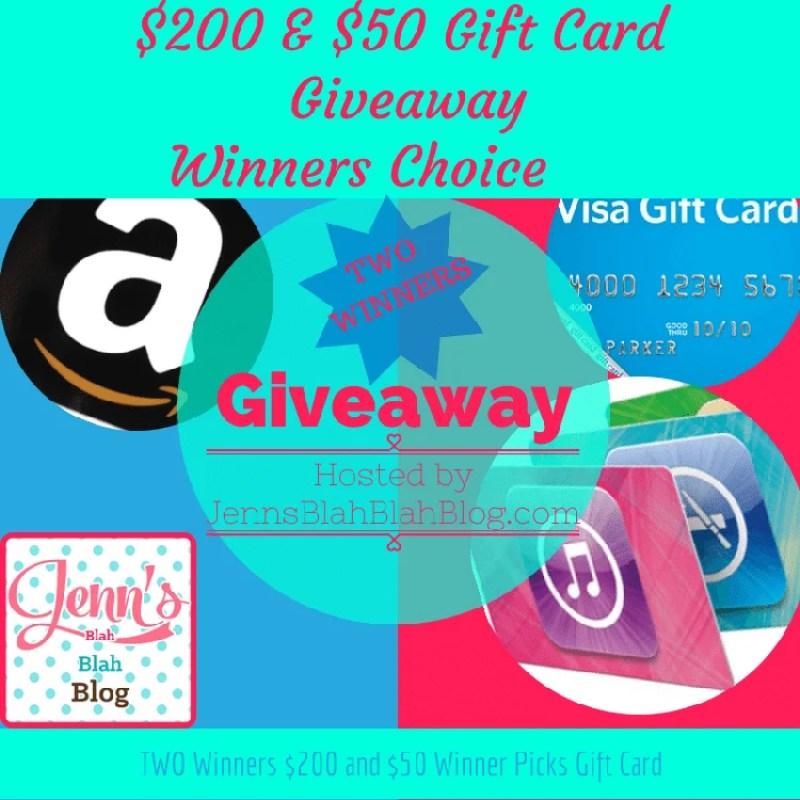 $250 Two Winners Gift Card Winners Choice Giveaway!