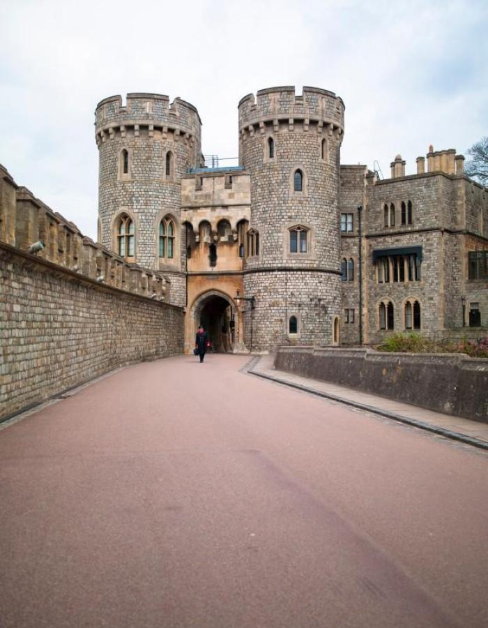 Windsor castle walks out of two towers.