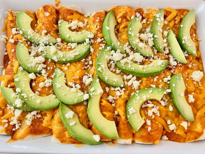 Cheesy Chicken, Corn and Black Bean Enchiladas