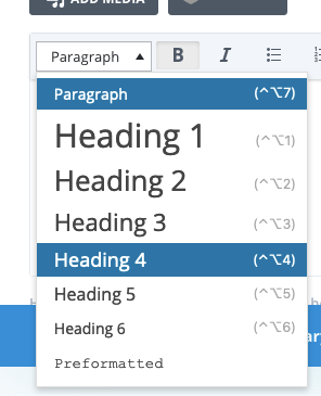 Choosing a header level for some text