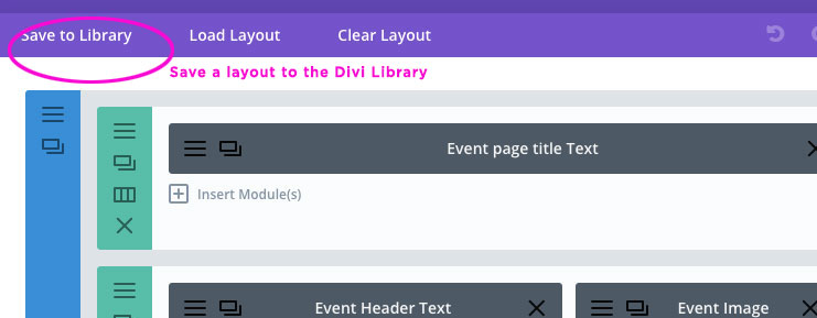 Click the Save to Library link at top left to save a section layout
