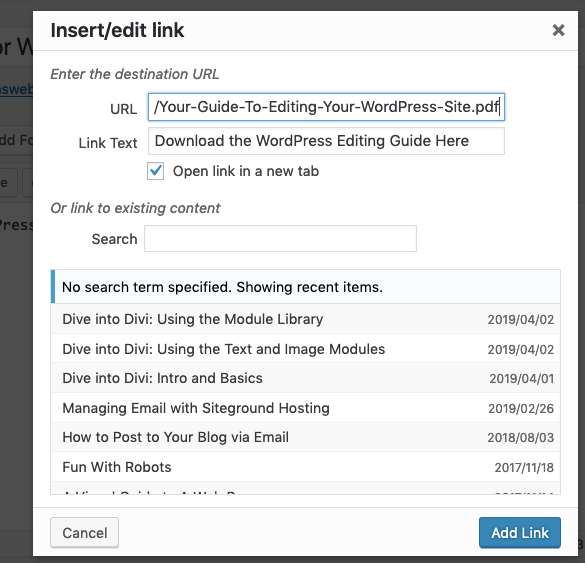Link to A PDF or Word Document in WordPress