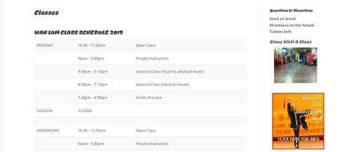 wah lum class schedule