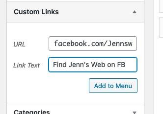 add a custom link in the url field