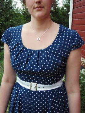Blue Dotty Dress, white belt