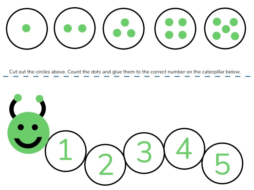 Caterpillar Math Free Printable Preschool Worksheets Numbers 1 5