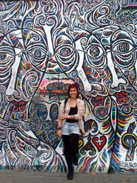 Berlin street art is incredible! Here, I'm at the East Side Gallery, once a part of the Berlin Wall.