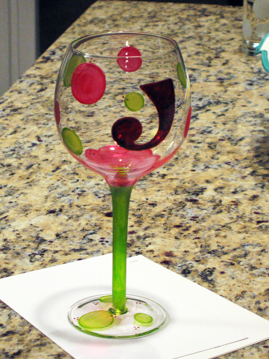 Painted wine glasses life in a nutshell