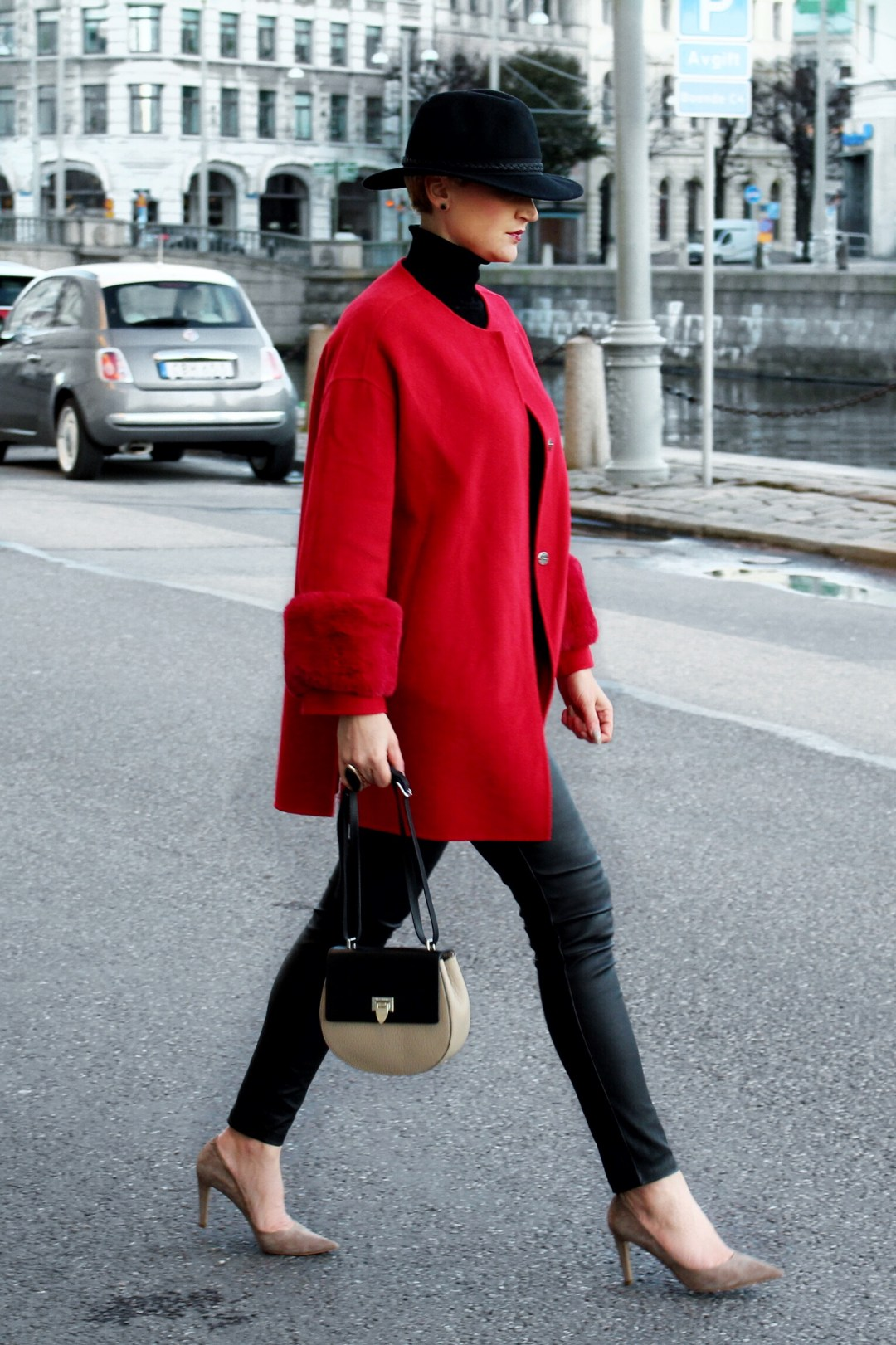red wool coat outfit