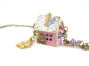 Personalized Raw Bronze House Necklace