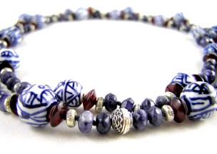 Delft, Garnet and Thai silver necklace
