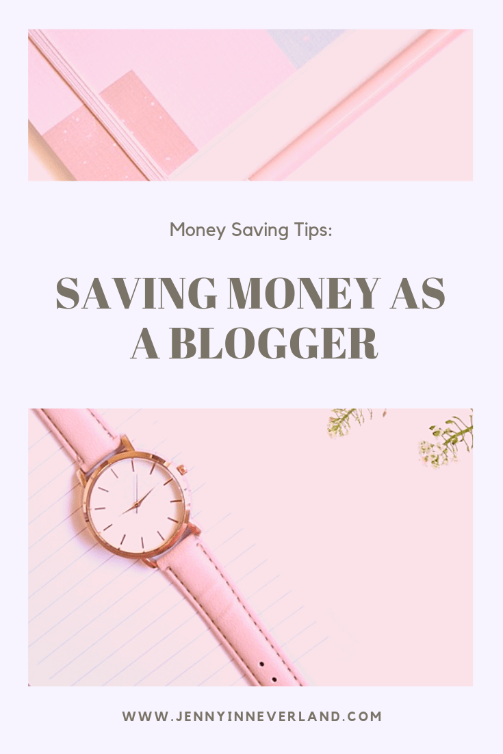 "Vertical Pinnable photo with ""Saving Money as a Blogger"" for a title, with a pink background, a pink watch and pink notebooks"
