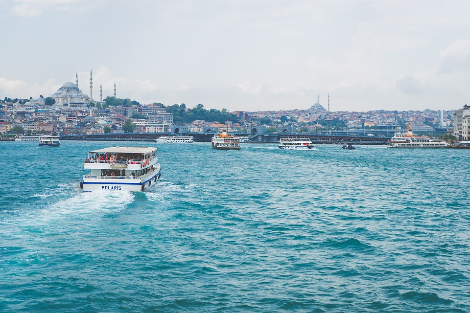Istanbul in the distance with a small ship