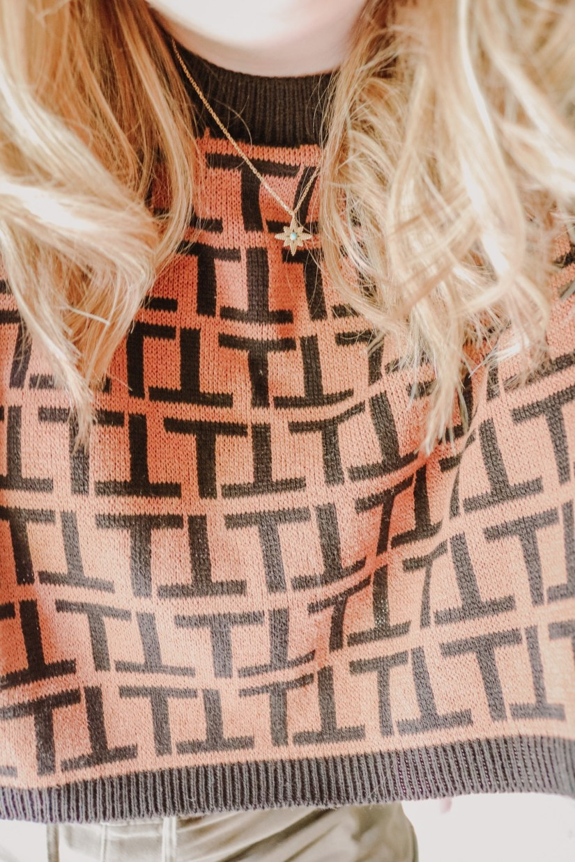 Brown Pattered Cropped Jumper