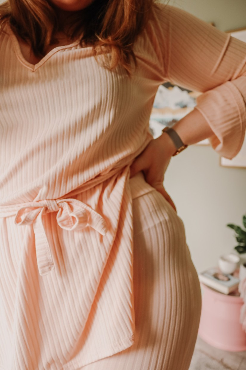 Femme Luxe - Pink Ribbed Belted Loungewear Set
