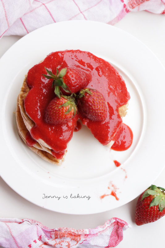 strawberry pancakes with strawberry sauce