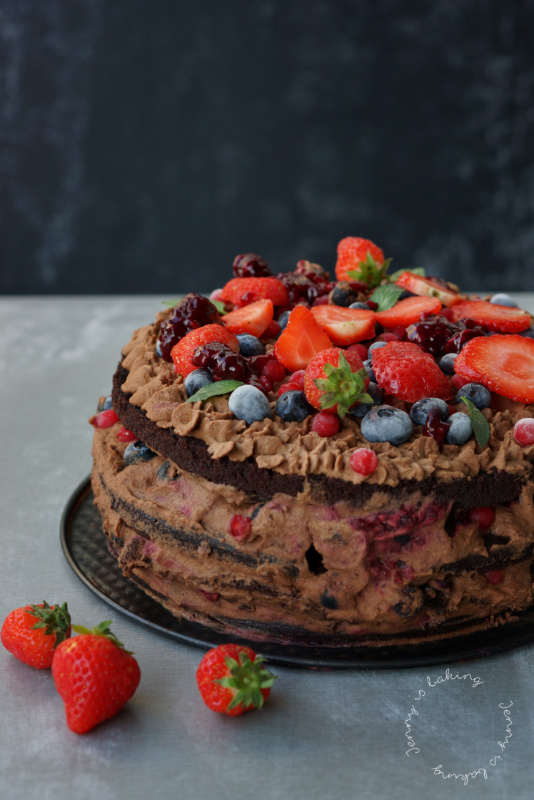 Chocolate Layer Cake With Berries Or Farewell To Summer Jenny Is Baking