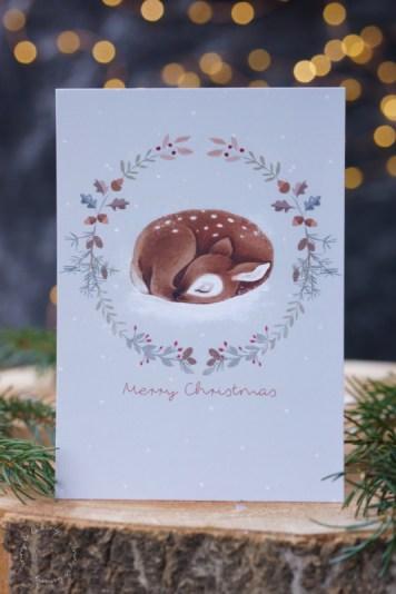 Weihnachtskarte mit Reh gestaltet von Ellen Martens