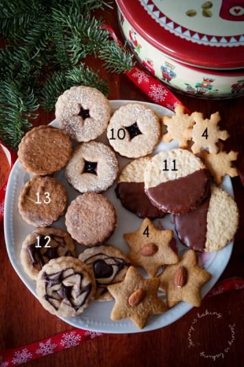 Weihnachtlicher Plätzchenteller mit verschiedenen Keksen
