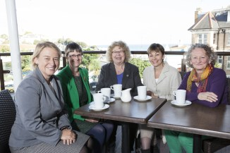 Natalie Bennett, Molly Scott Cato MEP, Jean Lambert MEP, Caroline Lucas MP and JJ at Green Party Autumn Conference 2015