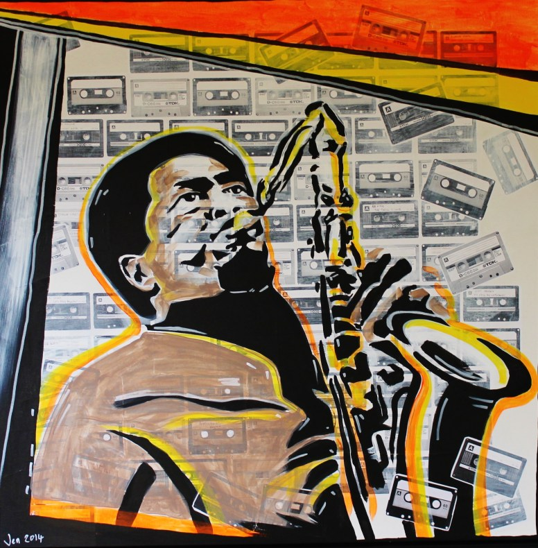 Jazz player painting over cassette tapes collage