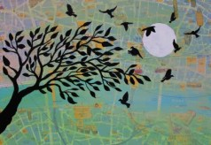 Jenny Leonard Birds over London Painting 28 x 40cm