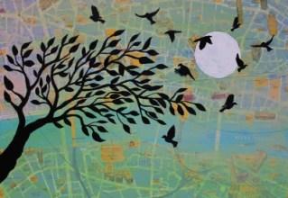 Jenny Leonard Birds over London Painting 28 x 40cm