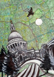St Pauls on map painting