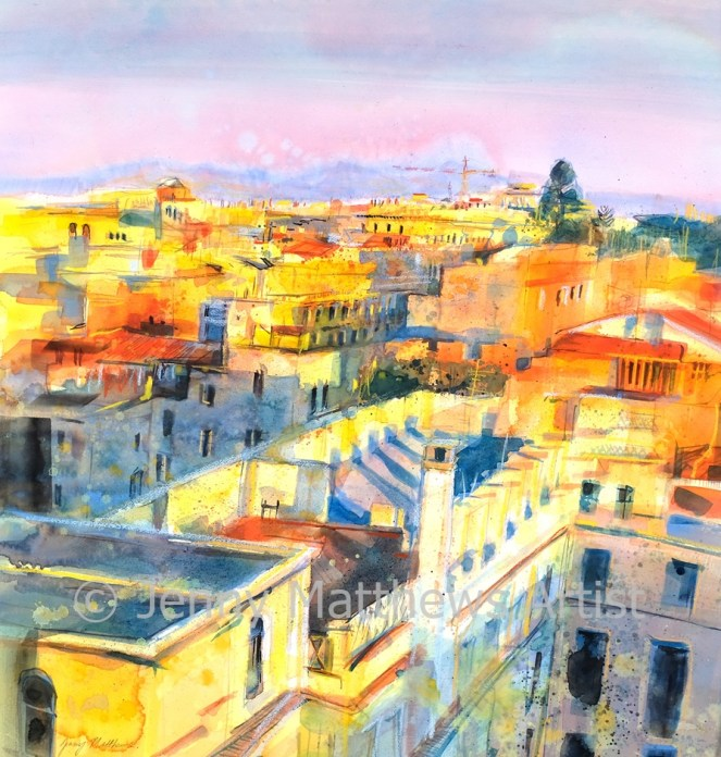 Golden Afternoon, Rome 76 x 70cm, watercolour on paper, framed price £2,250