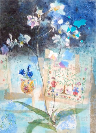 Evening Orchid, 76 x 56cm, watercolour collage on paper, framed price £1,850