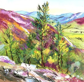 Heather Hills, Braemar, Deeside, 37 x 37cm, watercolour on paper, framed price £950