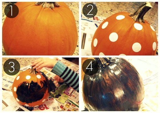 how to paint polka dot pumpkins tutorial via @jennyonthespot