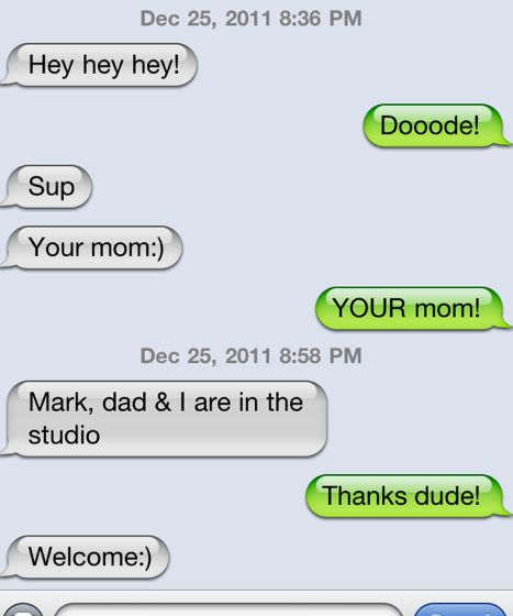 texts between my son and me