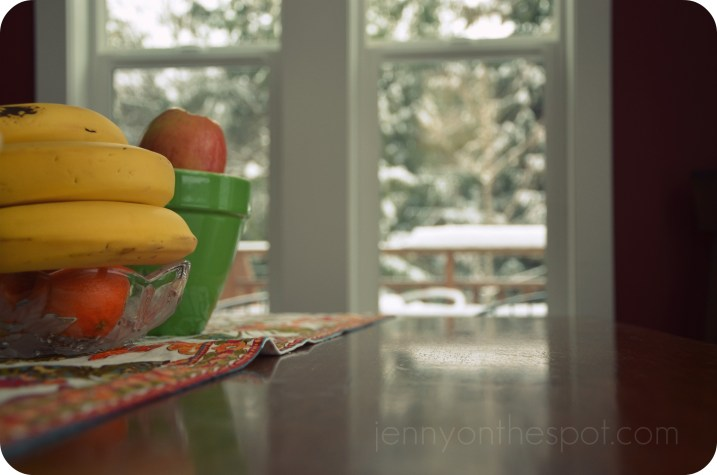 table and fruit