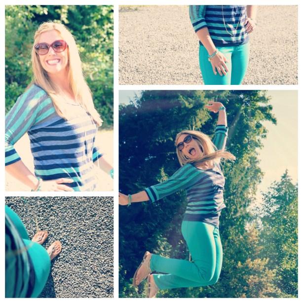 striped Splendid top and emerald skinnies