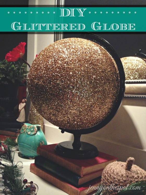 Glittered globe via @jennyonthespot // www.jennyonthespot.com