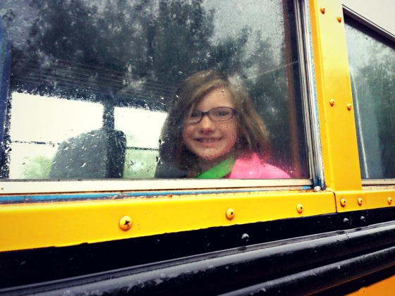 on her way to school...