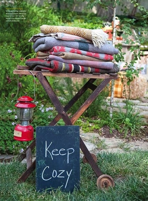 Blanket station (11 Ways to Impress Guests at Your Outdoor Party! via @jennyonthespot)