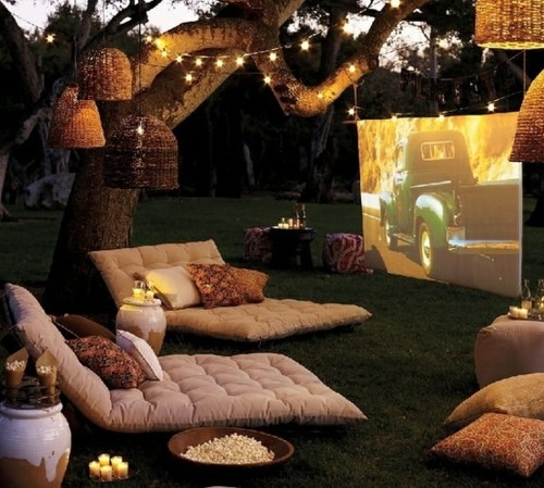 10 Beautiful Backyard Escape Ideas - outdoor living room and movie