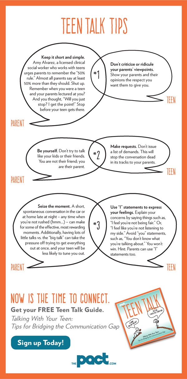 Teen Talk Tips from The PACT. A great resource for getting the conversation rolling with your teen(s).