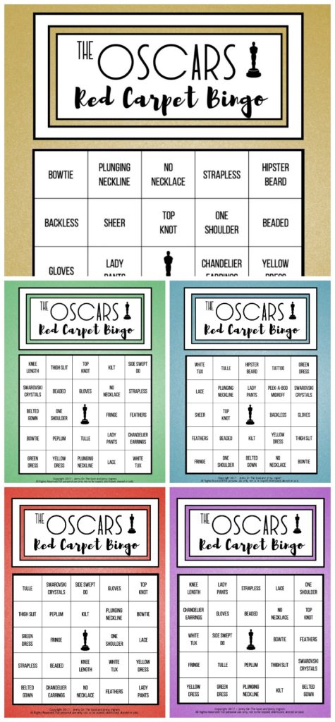 Oscars Red Carpet Bingo Printables