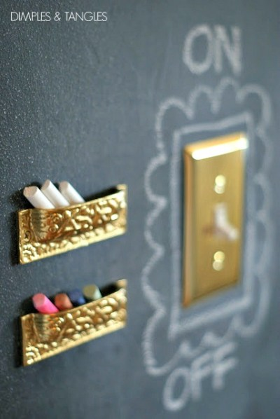 work around light switches with chalkboard paint
