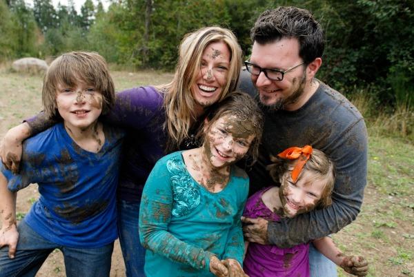 Family fun in the mud