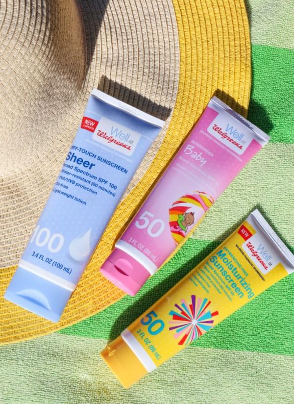 Walgreens brand sun care selection.
