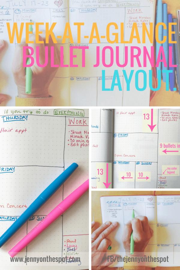 Week At-A-Glance | Bujo | Bullet Journal | Jenny On The Spot