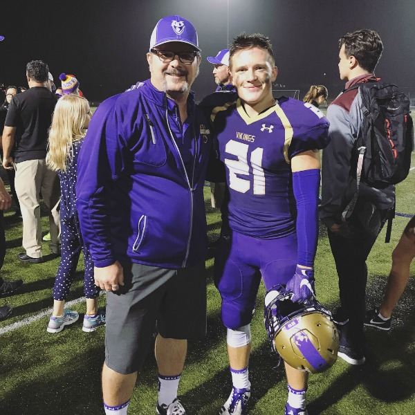 Football - Coach and player. Father and son.