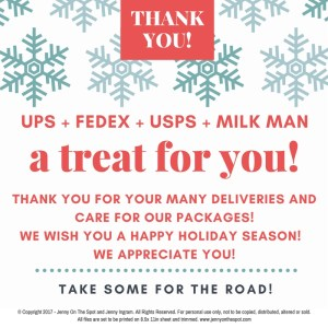 Delivery Person Holiday Appreciation - Free Printable   www.jennyonthespot.com