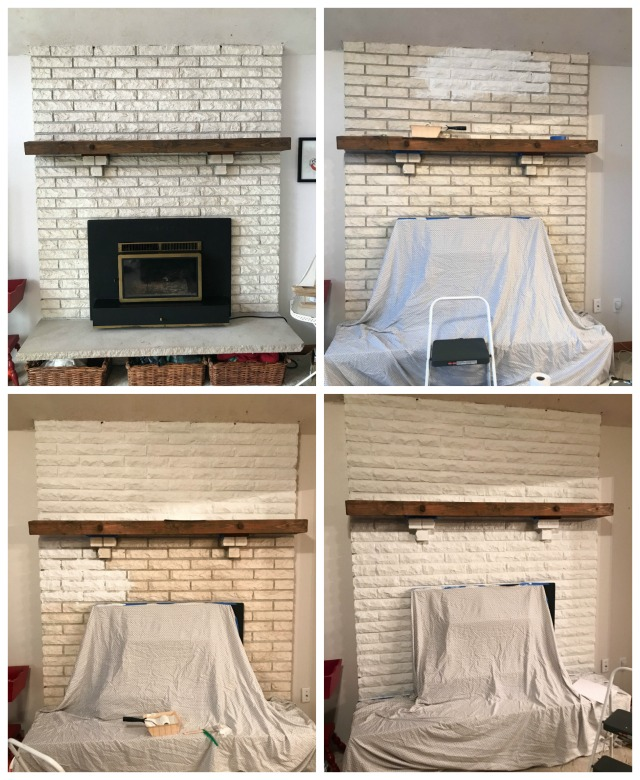 Stages of a fireplace re-do