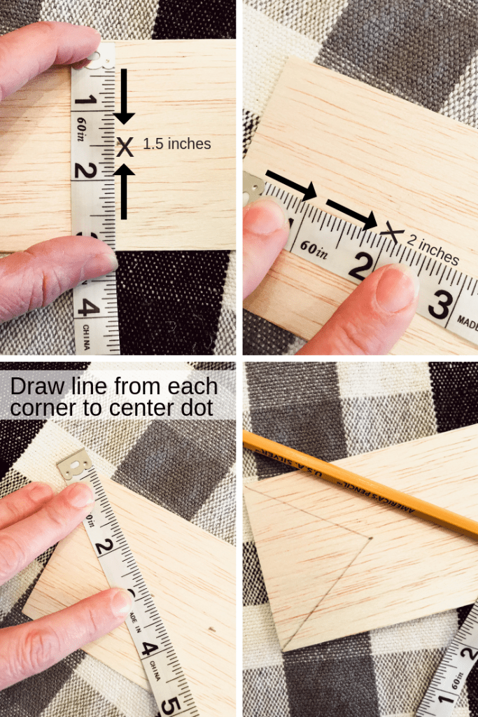 Mark the center and measure 3 inches up. Use a straight edge and make lines from the corners to the center mark.